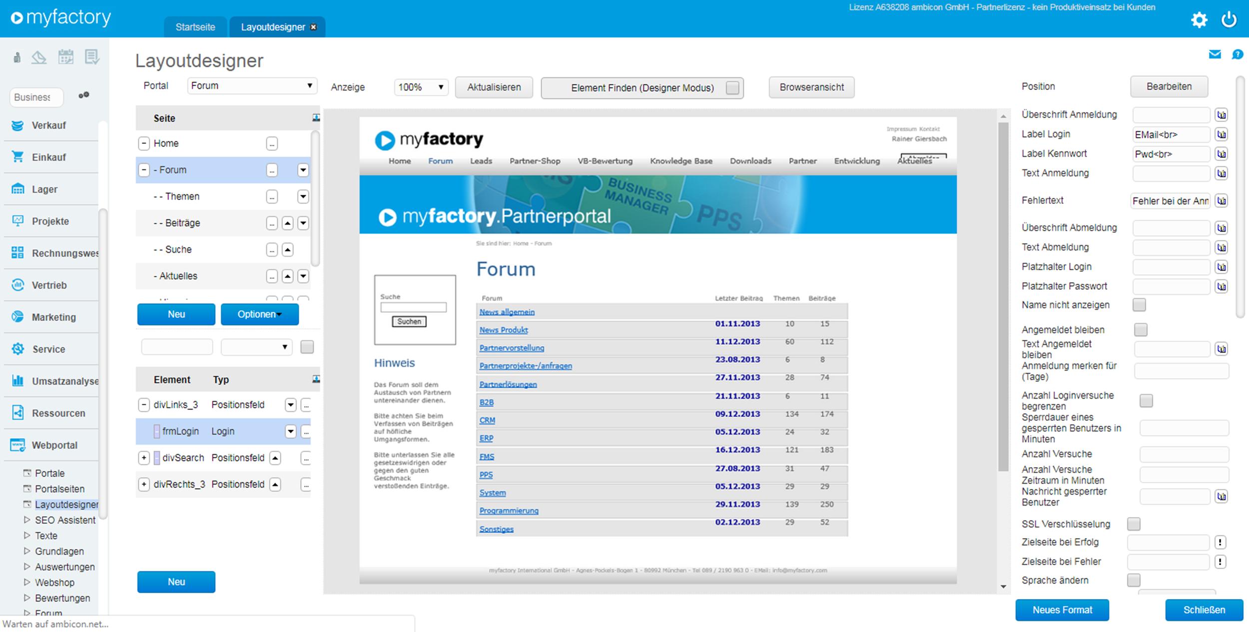 Administrieren Sie Ihr Portal direkt aus der myfactory B2B